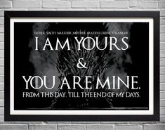 Game of Thrones Wedding Vows  I am yours and you by EAlexDesigns