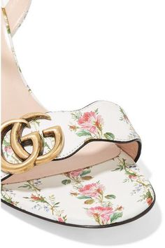 Gucci - Floral-print Leather Sandals - White - IT36.5