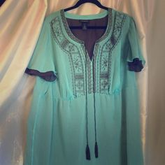 Beautiful, embroidered, lined blouse This gorgeous top is a vibrant aqua, with chocolate brown lining and beautiful flawless embroidery. Short-sleeved, size 22, from Lane Bryant. Has tiny stain at bottom, pictured, and price reflects. Polyester. Lane Bryant Tops