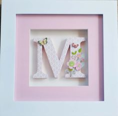 One Individually Framed Childrens Letter  - Pink Butterflies and Flowers (Any theme and color scheme)