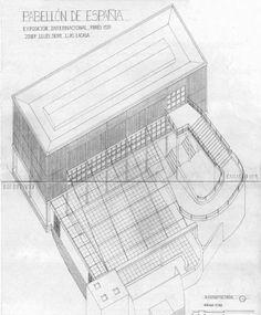 Pabellón español de la Exposición Internacional de 1937 en París - J. L. Sert Guernica, Le Corbusier, Architecture, Lacasa, How To Plan, Concept, Drawings, House, World's Fair