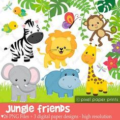 Jungle Friends -Animals- Clip art and Digital paper set - Jungle clipart