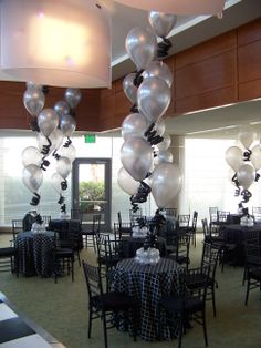 tall Centerpieces of latex balloons with curlyQs, for a post wedding event