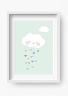 """Wandgestaltung - Kinder Poster """"Wolke Mint"""" (Kinderzimmer Bild) - ein Designerstück von fabeltal bei DaWanda"""
