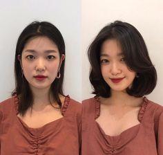 Korean Perm Short Hair, Korean Hairstyle Medium Round Faces, Bangs For Round Face, Round Face Haircuts, Short Hair With Bangs, Short Hair Cuts, Short Hair Korean Style, Hair Style Korea, Side Fringe Hairstyles