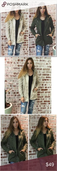Utility Jacket Features: * High Quality  * Fully lined inside  * Will keep you warm during the colder months  * Draw strings * Pockets  * Hooded * Comes in Tan or Olive  Sizes: S,M,L,XL  Small:              Medium Bust 38.          Bust 40 Length 29.      Length 29  Large               Extra Large Bust 42.          Bust 44 Length 30.     Length 30 Jackets & Coats Utility Jackets