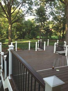 Multi-level composite deck, dark. Perfect for summer nights