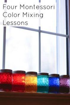 Four Montessori Color Mixing Lessons #Montessori #preschool