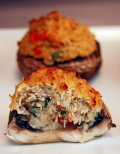 Crab stuffed Portabello mushroom with horseradish dipping sauce... no way this could be anything less than delicious!