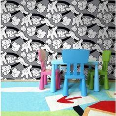Disney Grey Mickey Mouse Handshake Wallpaper- at Debenhams Mobile