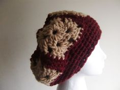 Cranberry+Granny+Square+Slouchy+Hat