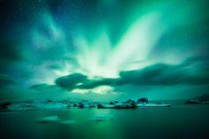 #Polarlichter am Jökulsárlón Gletschersee, #Island #Iceland #polarlights