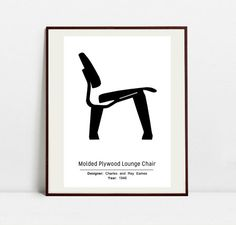 Molded Plywood Lounge Chair Poster  Black and White Art by Postery