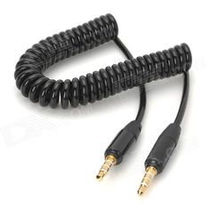 3.5mm Male to Male Spring Coil Audio Cable - Black (Max. 120cm)### For Wholesale price, pls contact Alex,  Whatsapp 0086-159-9443-4871 http://www.linkedin.com/pub/alex-lee/55/483/22b