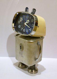 WALT Clock Bot Assemblage Art Recycled Robot by RemnantsbyRJ