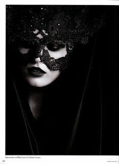 Karl Lagerfeld October 2009 German Vogue beaded lace mask