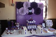Purple dessert tables