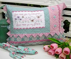 The Rivendale Collection - Daughter: This charming pattern is a part of The Rivendale Collection by Sally Giblin. Pattern includes instructions for stitchery, instructions for appliqué, and instructions for cushion. Finished size is 15 Handmade Pillows, Decorative Pillows, Shabby Fabrics, Sewing Pillows, How To Make Pillows, Quilted Pillow, Pin Cushions, Quilt Patterns, Patchwork Patterns