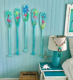 Flamingo Paddle Oar Art Sign ONE Hand Painted Coastal Tropical Beach House Lake Cottage Decor By CastawaysHall - Home Professional Decoration Beach Cottage Style, Beach Cottage Decor, Lake Cottage, Coastal Cottage, Coastal Style, Coastal Decor, Oar Decor, Coastal Living, Cottage House