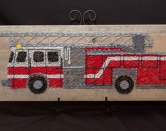 Custom String Art Fire Truck! Absolutely fun and awesome for all who love firetrucks so whether it's a little boy or a firefighter!