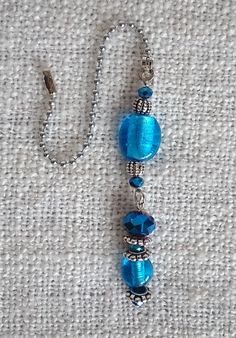 Blue Crystal & Glass - Ceiling Fan / Light Pull - Beaded Chain