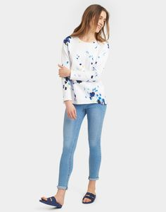 Clemence Bright White Floral Crew Neck Sweatshirt  | Joules UK