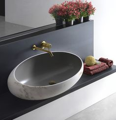 Matte grey + marble + gold. Bathroom. Interior design.