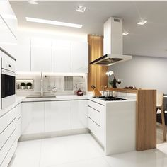 for behind sink in island? to cover pony wall? Kitchen Room Design, Kitchen Cabinet Design, Modern Kitchen Design, Kitchen Interior, Kitchen Decor, Kitchen Cabinets, Small U Shaped Kitchens, Scandinavian Kitchen, White Home Decor