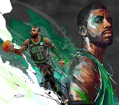 My painting of the famous player of the Boston Celtics, Kyrie Irving. Louisville Basketball, Basketball Is Life, Basketball Pictures, College Basketball, Basketball Players, Basketball Memes, Basketball Uniforms, Nba Players, Irving Wallpapers