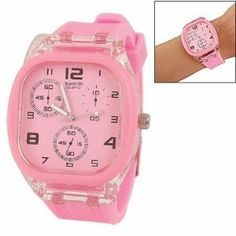 Como Lady Pink Silicone Band Plastic Dial Arabic Number Display Sport Watch by Como. $7.22. Package Contain: 1 x Wrist Watch. Fit Wrist Girth: 16-21cm/6.3''-8.3''; Weight: 40g. Band Material: Silicone; Case Material: Plastic, Stainless Steel. Watchband Size: 19 x 2cm/7.5'' x 0.8'' (L*W); Case Size: 3.8 x 3.8 x 1cm/1.5'' x 0.4'' (L*W*H). Product Name: Wrist Watch; Fit for: Ladies; Band Color: Pink. Designed with soft silicone wristband, can be adjusted with 9 holes, one size...