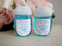 These baby shower labels are the perfect topper for your favors. Engineered to fit the new Bath and Body Works PocketBacs, each label features a handsome crown on white sticker paper. A sparkly gem is attached to the center of each crown and a customizable message is printed onto each label. Just tell me at checkout what you would like the label to say and Ill send you a digital proof to review within 48 hours. Need a different shaped sticker. No problem! Just email me and well work together…
