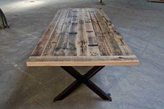 X-base Table from Alabama Railroad Oak   on sectioned I-beam base