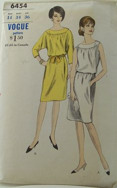 Vintage 1960 Fashion Vogue 6454 Once Piece Sleeveless Dress Sewing Pattern Bust 34 Size 14