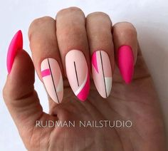 Hot Almond Shaped Nails Colors To Get You Inspired To Try - Nail Shapes Ideas - Nagellack Design, Pink Nail Art, Pink Blue Nails, Oval Nail Art, Colorful Nail Art, Almond Shape Nails, Almond Nail Art, Geometric Nail, Minimalist Nails