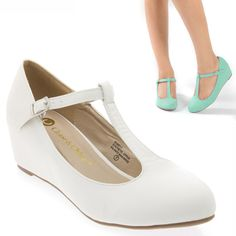 Lady White T Strap mary Jane Med Low Hidden Wedge Heel Ballet Flat Pump US 9 in Clothing, Shoes & Accessories, Women's Shoes, Heels | eBay