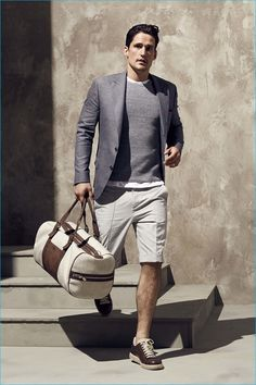 Consider teaming a grey sport coat with beige shorts for drinks after work. Want to go easy on the shoe front? Opt for a pair of dark brown leather low top sneakers for the day. Shop this look on Lookastic: https://lookastic.com/men/looks/blazer-crew-neck-sweater-crew-neck-t-shirt/20565 — Grey Crew-neck Sweater — White Crew-neck T-shirt — Grey Blazer — Beige Shorts — Dark Brown Leather Low Top Sneakers