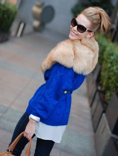 Cobalt Blue Sweater LOVE this look...check out fashionaddict.la GREAT BLOG!