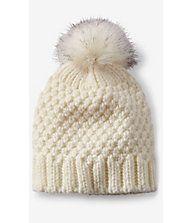 Ivory Faux Fur Pom Thick Knit Beanie | Express