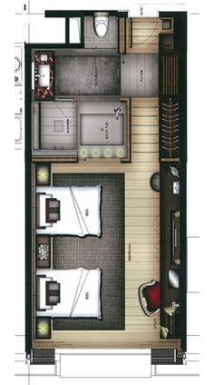 I am not generally a fan of the fully rendered floor plan, but this one is really nice. Composition is balanced. Colors are muted enough to not overwhelm the design. Nice.