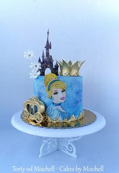Cinderella - cake by Mischell Cinderella Theme, Cinderella Birthday, Cinderella Cakes, Disney Desserts, Disney Cakes, Disney Princess Cakes, Cake Paris, Painted Cakes, Girl Cakes