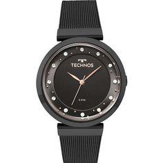 Relógio  technosoficial Crystal Preto. Detalhes exclusivos da Technos nos  cristais  swarovski crevejados no c4434832e2