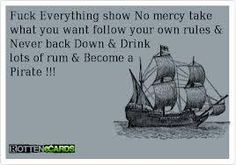 Stop everything, get barrels of rum and live like a pirate! Filthy Memes, Never Back Down, Rum, Pirates, How To Become, Funny Quotes, Barrels, Bullshit, Stupid