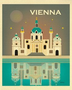 Vienna, Austria Vertical Nighttime Skyline Illustration - Recycled Paper Print for Gifts and Wall Art - 11 x 14 - style sold by Loose Petals. Shop more products from Loose Petals on Storenvy, the home of independent small businesses all over the world. Budapest, Vienna Map, Party Vintage, Austria Travel, Vintage Travel Posters, Canvas Prints, Art Prints, Skyline, Wall Art