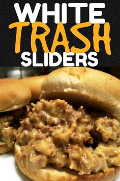 WHITE TRASH SLIDERS! An easy appetizer recipe for cheesy sliders made with ground beef, pork sausage and Velveeta Easy Cupcake Recipes, Snack Recipes, Snacks, Easy Appetizer Recipes, Burger Recipes, Cheesesteak, Easy Meals, Good Food, Cupcakes