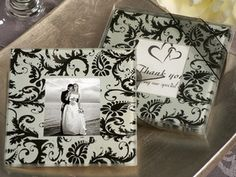 Timeless and classic are the best words to describe Cassiani's exclusive damask glass photo coaster favors. Each of these classic design photo coasters have an elegant black and white Damask design decal  #timelesstreasure