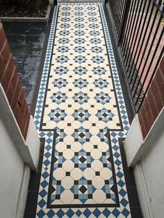 Victorian Tiles London specialist in installation and supply any reproduction Victorian mosaic floor tiles, Victorian geometric tiles in the London area Victorian Hallway Tiles, Victorian Mosaic Tile, Tiled Hallway, Hallway Flooring, Hall Tiles, Victorian Flooring, Victorian Bathroom, Bathroom Floor Tiles, Tile Floor