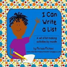 Writing Lists * I Can Write a List! ~Monthly writing prompts for list making Writing Prompts Romance, Writing Lists, Cool Writing, Creative Writing, Writing A Book, Writing Ideas, Writing Resources, Kindergarten Writing, Teaching Writing