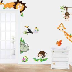 Jungle Animal Sticker Kid Baby Nursery Child Home Decor Mural Wall Sticker Decal #Unbranded