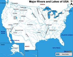 Rivers And Lakes Of The US WorkRelated Resources Pinterest - Us all rivers map