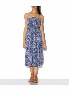 Blue Pattern (Blue) Blue Abstract Print Belted Bandeau Midi Dress | 306869549 | New Look